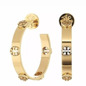 Tory Burch Gold Logo Cutout Hoop Earrings